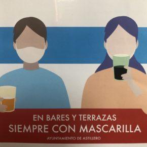 El Ayuntamiento de Astillero lanza una campaña para el uso de la mascarilla en terrazas y en el interior de los bares